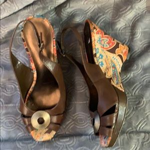 Anne Klein boho paisley wrapped sling back wedges